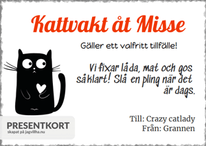 Presentkort mall med Katt