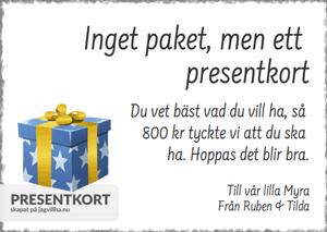 Presentkort mall med Paket
