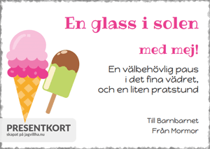Presentkort mall med Glass
