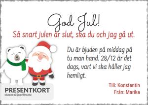 Presentkort mall med Tomte & Isbjörn