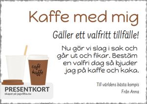 Presentkort mall med Kaffe